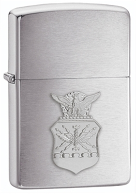 Show details for Zippo - Brushed Chrome Lighter w/ Air Force Crest