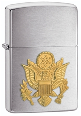 Show details for Zippo - Brushed Chrome Lighter w/ Army