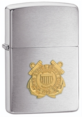 Show details for Zippo - Brushed Chrome Lighter w/ Coast Guard