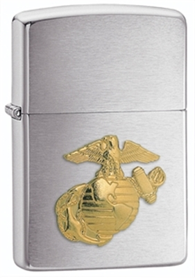 Show details for Zippo - Brushed Chrome Lighter w/ Marines