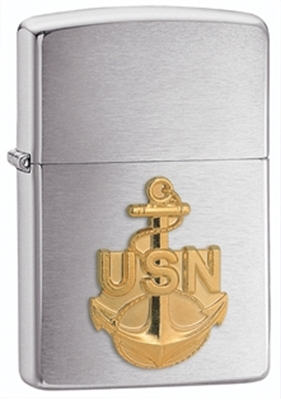 Show details for Zippo - Brushed Chrome Lighter W/ Navy