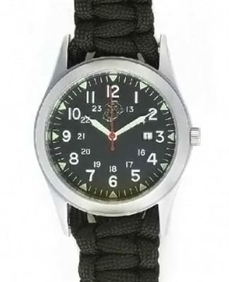 """Picture of Marines Basic Field Watch - Black Paracord Strap - 6.5"""" - Army"""