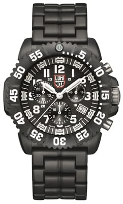 Picture of Navy Seal Colormark Chronograph 3080 Series - Black/White - PC Carbon Bracelet